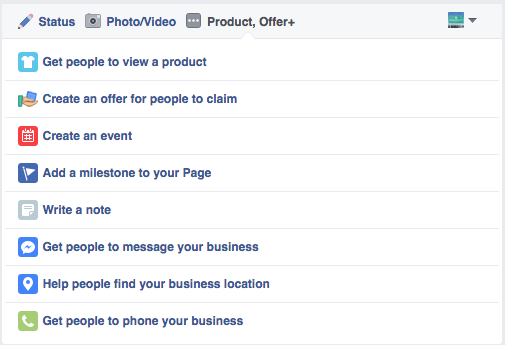 Facebook Post Options List